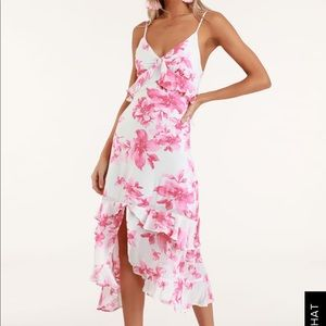 LuLu's ISLAND TIME FLORAL RUFFLED MIDI DRESS